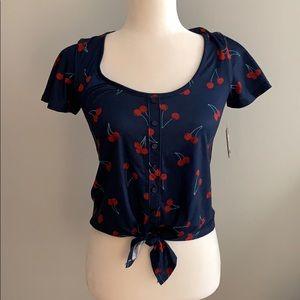NWT Blue cherry print tie front crop top